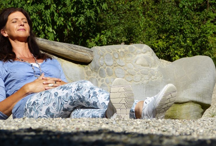 A woman relaxing in the sun.